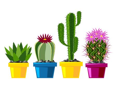 サボテン フラット スタイル自然砂漠の花緑漫画グラフィック メキシコ多肉植物、熱帯植物ガーデン アート サボテン花のベクトル図を描きます。  イラスト・ベクター素材
