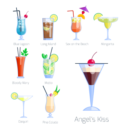 daiquiri: Set of alcoholic cocktails isolated fruit cold drinks tropical cosmopolitan freshness collection and party alcohol sweet tequila vector illustration. Illustration