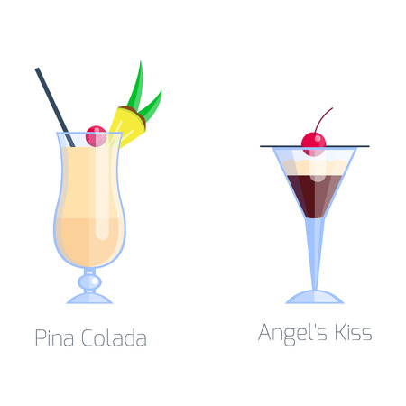 Set of alcoholic cocktails isolated fruit cold drinks tropical pina colada freshness and party alcohol sweet tequila vector illustration. Illustration