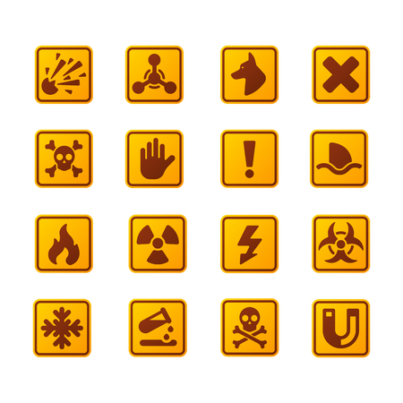 prohibiting: Prohibition signs set industry production vector yellow red warning danger symbol forbidden safety information and protection no allowed caution information.
