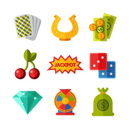 Casino game icons poker gambler symbols blackjack winning roulette joker slotbvector illustration. Illustration