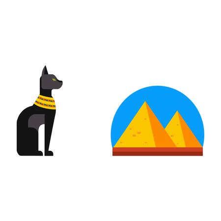 menkaure: Vector flat design egypt pyramid travel icon sacred animal element illustration. Illustration