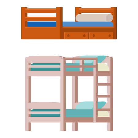 Vector bunk bed icon interior home rest collection sleep furniture comfortable night illustration.