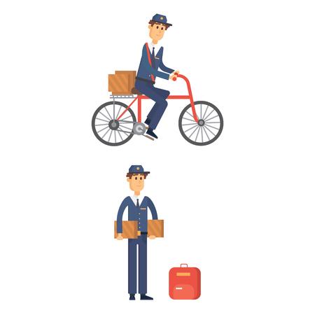 Uomo di consegna dell'uomo dell'uomo vettore del corriere di vettore di occupazione carino trasporto del pacchetto maschio. Vettoriali