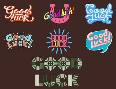 luckiness: Good luck text farewell vector lettering with lucky phrase pattern greeting typography. Illustration