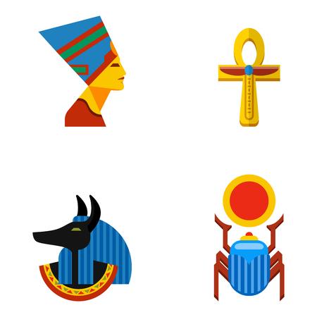 Set of vector flat design egypt travel icons culture ancient elements illustration. Illustration
