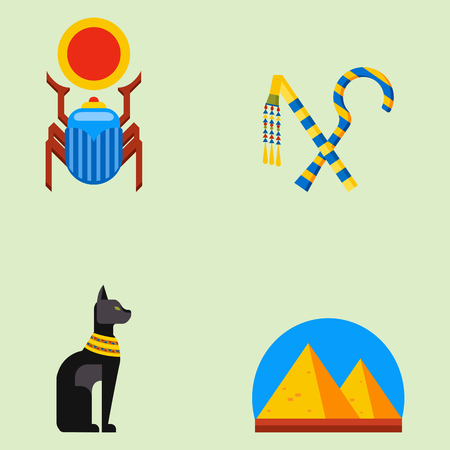 esfinge: Conjunto de diseño plano vector iconos de viajes egipto cultura elementos antiguos ilustración.