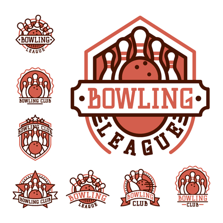 spare: Vector bowling emblem and design element logotype template badge item design for sport league teams success equipment champion illustration.