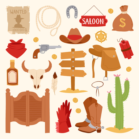Wild west cartoon icons set cowboy rodeo equipment and different accessories vector illustration.