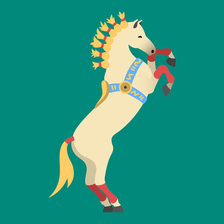 foal: Fashion circus horse stallion isolated breed color equestrian animal character vector illustration.