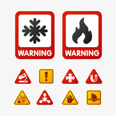 prohibiting: Prohibition signs set oil industry production vector yellow red warning danger symbol forbidden safety information and protection no allowed caution information.