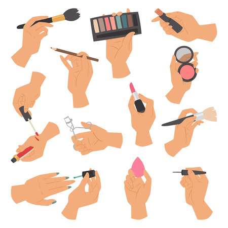 Collection of makeup cosmetics and brushes in hands isolated on white background vector illustration.