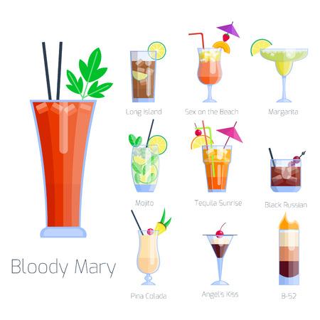 Ensemble de cocktails alcoolisés Fruits isolés boissons froides Collection de fraîcheur cosmopolite tropicale et illustration vectorielle de tequila douce pour alcool de fête. Banque d'images - 76555123