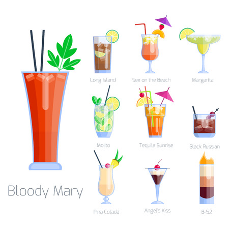 Set of alcoholic cocktails isolated fruit cold drinks tropical cosmopolitan freshness collection and party alcohol sweet tequila vector illustration. Illustration