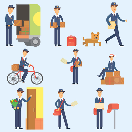 cute dog: Postman delivery man character vector courier occupation carrier cute male package transportation.