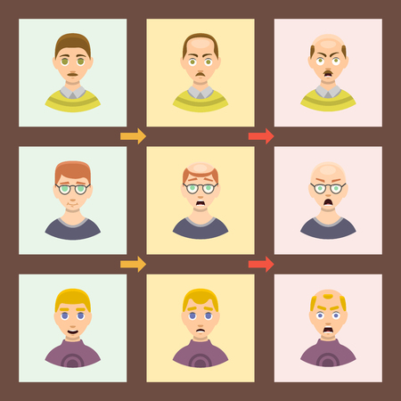 Information chart of hair loss stages types of baldness illustrated on male head vector. Illustration
