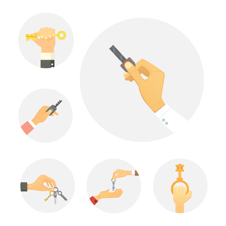 condominium: Hands holding key apartment selling human gesture sign security house concept vector illustration. Illustration