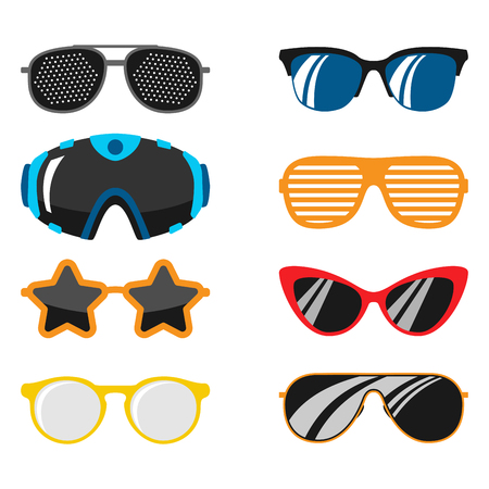 Fashion set sunglasses accessory sun spectacles plastic frame modern eyeglasses vector illustration. Çizim