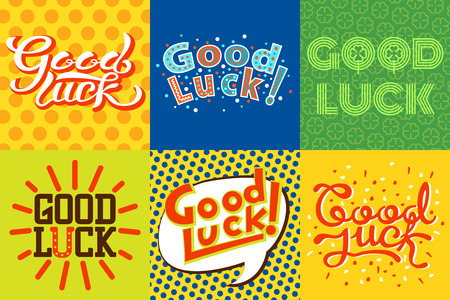 Good luck text farewell vector lettering with lucky phrase background greeting typography.