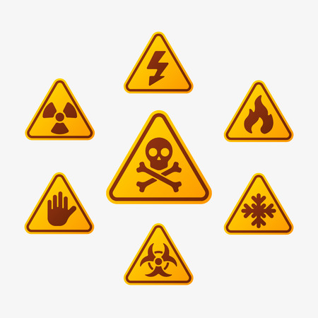 forbid: Prohibition signs set industry production vector yellow red warning danger symbol forbidden safety information and protection no allowed caution information.