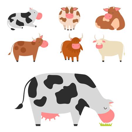 Bulls vacas animales de granja carácter ilustración vectorial de ganado de mamíferos. Foto de archivo - 76444947