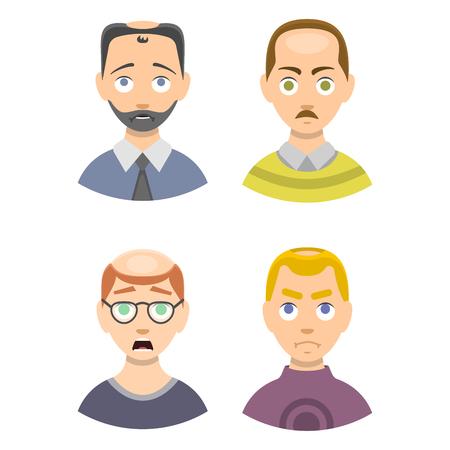 calvicie: Carta de información de la pérdida de cabello tipos de etapas de la calvicie ilustrada en el vector cabeza masculina. Vectores