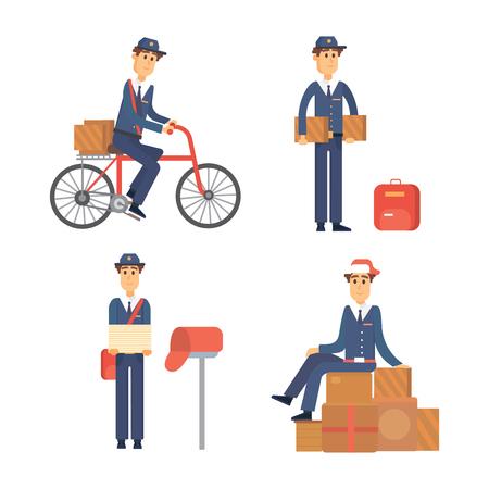 Postman Delivery Man personnage vecteur transport messager porteuse mignon transport de forfait masculin. Banque d'images - 76444954