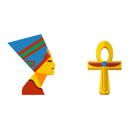 Vector flat design egypt travel cross icon pharaoh head element illustration.