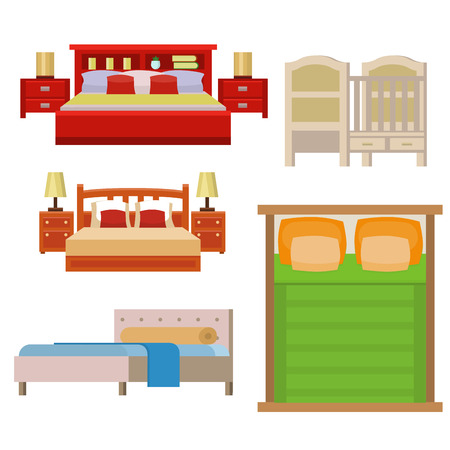 bunk bed: Vector Bed icon set interior home rest collection sleep furniture comfortable night illustration. House relaxation information hostel bedtime modern service sign.