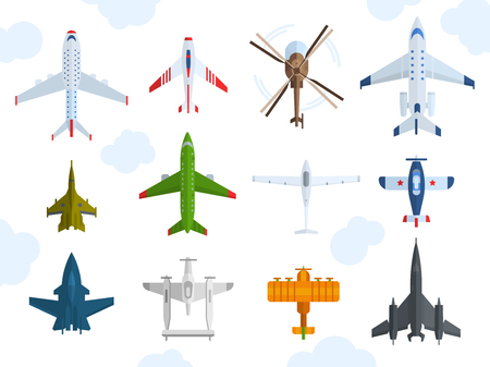 Aircraft different plains top view vector illustration
