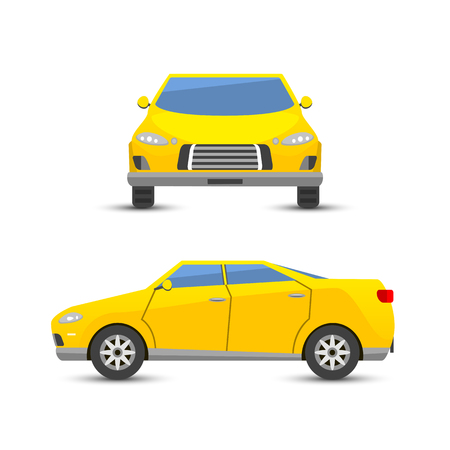 alloy: Flat yellow car vehicle type design style vector generic classic business illustration isolated.