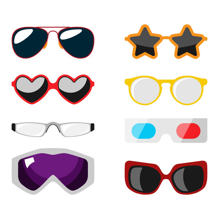 eyewear fashion: Fashion set sunglasses accessory sun spectacles plastic frame modern eyeglasses vector illustration. Illustration