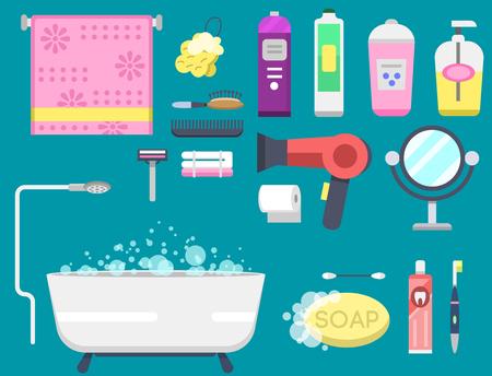 sanitary towel: Bath equipment icons modern shower colorful illustration for bathroom interior hygiene vector design.