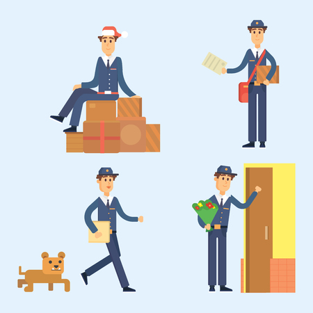 Postman delivery man character vector courier occupation carrier cute male package transportation.