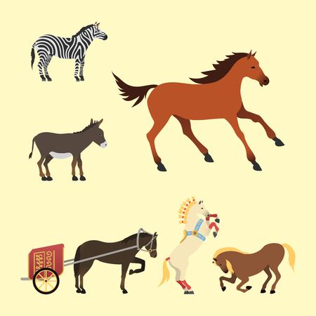 animal silhouette: Horse pony stallion isolated different breeds color farm equestrian animal characters vector illustration.