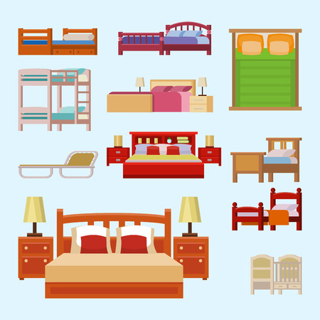 Vector bed icon set interior home rest collection sleep furniture comfortable night illustration.