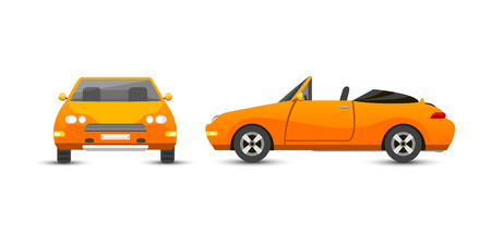 alloy wheel: Flat yellow car vehicle type design style vector generic classic business illustration isolated.