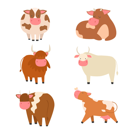 funny ox: Bulls cows farm animal character vector illustration cattle mammal nature wild beef agriculture. Illustration