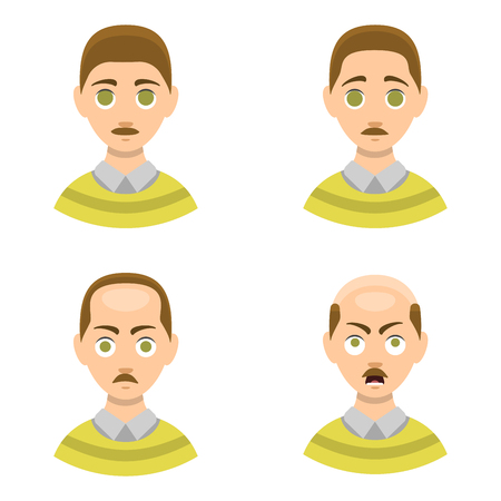 hairline: Information chart of hair loss stages types of baldness illustrated on male head vector. Illustration