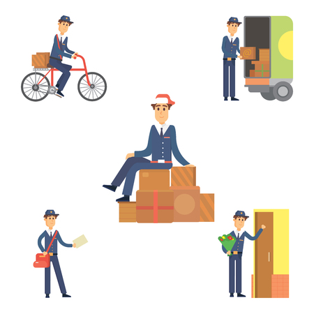 Postman, delivery man, character,  courier, occupation carrier, cute male package transportation.