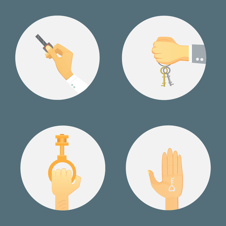 Hands holding key apartment selling human gesture sign security house concept illustration.
