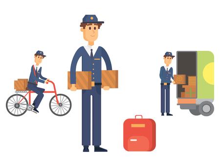 Uomo di consegna dell'uomo dell'uomo vettore del corriere di vettore di occupazione carino trasporto del pacchetto maschio.