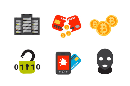 Internet security safety icon virus attack vector data protection technology network concept design. Illustration