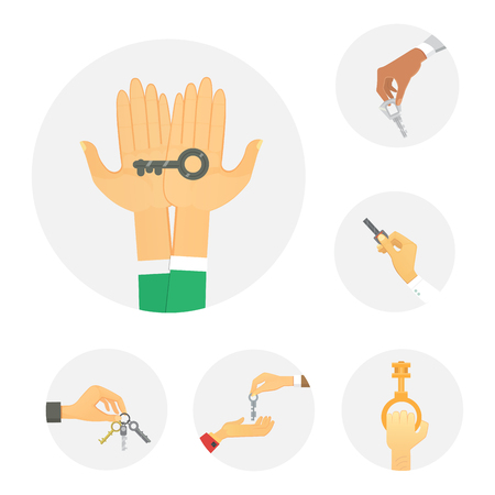 Hands holding key apartment selling human gesture sign security house concept vector illustration. Illustration