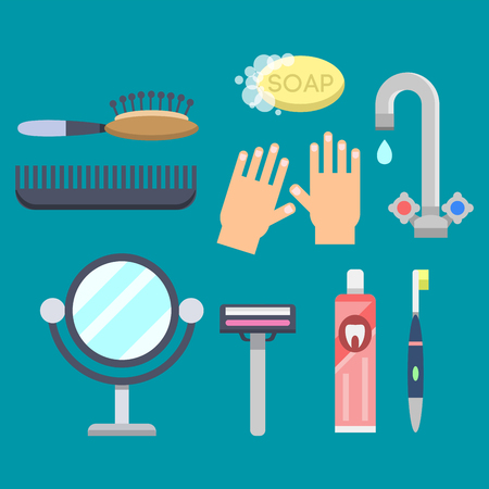 Bath equipment icons modern shower colorful illustration for bathroom interior hygiene vector design. Zdjęcie Seryjne - 77345817