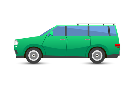 alloy wheel: Flat green car vehicle type design sedan sign technology style vector generic classic business illustration isolated. Transportation luxury side view travel contemporary fast traffic. Illustration