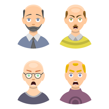 Information chart of hair loss stages and types of baldness illustrated on male head. Medical health problem growth scalp character hairstyle healthcare vector hairline view. Illustration