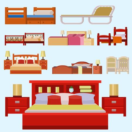literas: Conjunto de iconos de cama de vector conjunto interior de descanso colección de dormir cómodos noche ilustración.