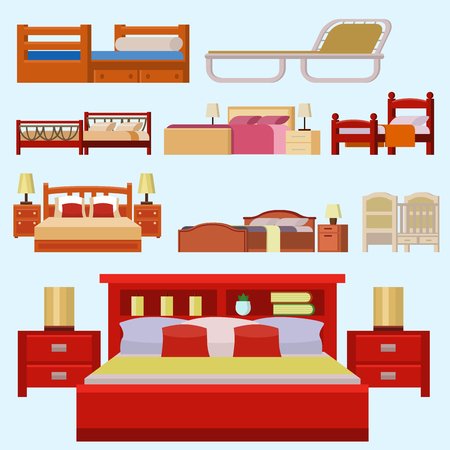 bunk bed: Vector bed icon set interior home rest collection sleep furniture comfortable night illustration.