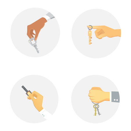 lock symbol: Hands holding key apartment selling human gesture sign security house concept vector illustration. Illustration